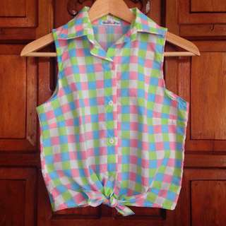 Brand New Thistle & Co. Colorful Printed Sleeveless Button Down Top Blouse