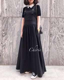 降!法式優雅-瑪黑黑色牛仔吊帶長裙