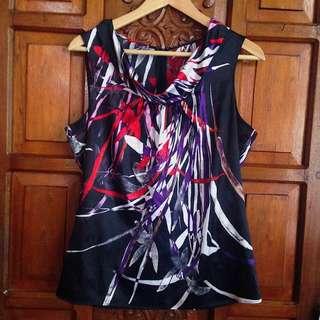 Brand New Black Printed Silk Sleeveless Top Blouse