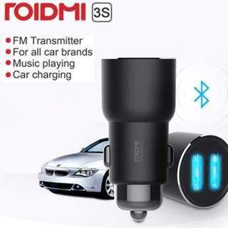 New Xiaomi ROIDMI 3S Car Bluetooth FM Transmitter MP3 Player Dual USB Charger NEW BFQ04RM Music car charger fast