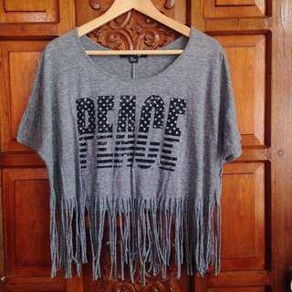 Brand New Forever 21 Gray Printed Hanging Crop Top