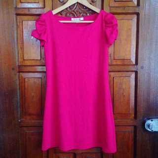Brand New Forever 21 Fuchsia Pink Ruffled Sleeves Office Dress