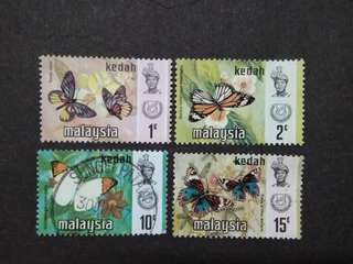 Malaysia 1971 Kedah Butterflies Definitive Loose Set - 4v MH & Used Stamps