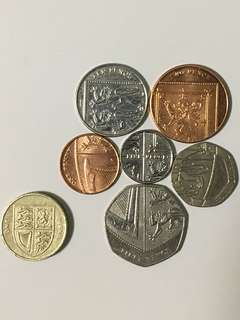 Sterling pound coins (UK shield)