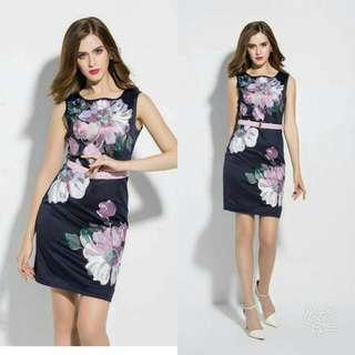 🍃Sleeveless Floral Dress with Belt
