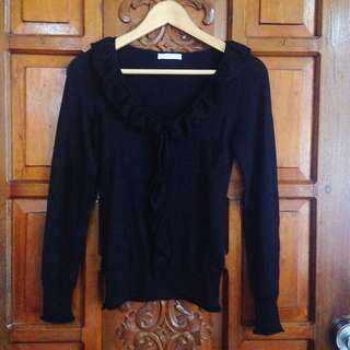 Promod Black Longsleeves Pullover Top Blouse