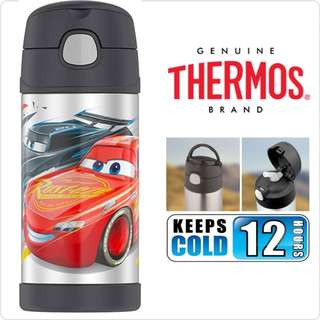 BN: Thermos Funtainer 12 Ounce Water Bottle, Disney Cars - Gray