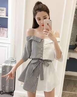 🚚 夏季新款女裝韓版性感一字領露肩拼色吊帶裙一排扣短袖條紋連身裙【E1025】