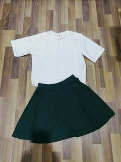 Topshop scater skirt+white blouse free