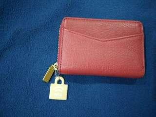 FOSSIL RFID MINI ZIP WALLET IN RED