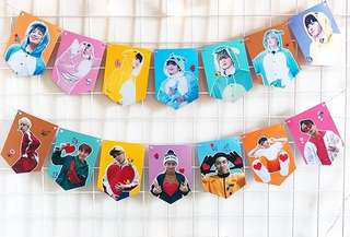 [PO -6 Designs] BTS Cute Garland Flag Poster Room Decoration 2 (RM (Rap Monster/Nam Joon/Namjoon), Jin (Seok Jin/Seokjin), Suga (Yoon Gi/Yoongi), J-Hope (Ho Seok/Hoseok), V (Tae Hyung/Taehyung), Jimin (Ji Min) and Jungkook (Jeong-guk/Jeongguk))