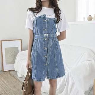 🚚 夏季新款女裝寬松顯瘦單排扣中長款牛仔無袖吊帶連身裙【E1026】