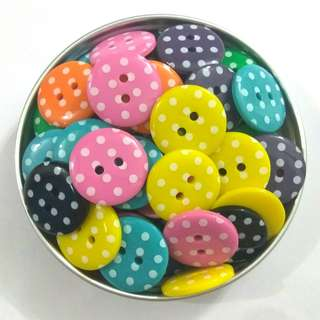 Assorted Colour Potka Dot Buttons