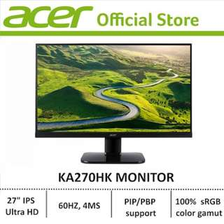 Acer KA270HK - 27-inch IPS Ultra HD LCD display with LED Technology Monitor