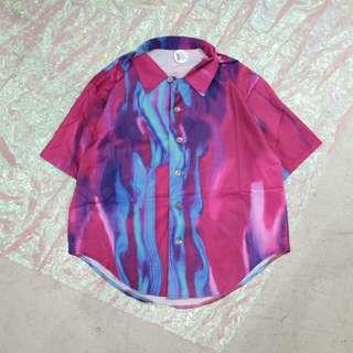渲染迷幻造型中性短袖襯衫