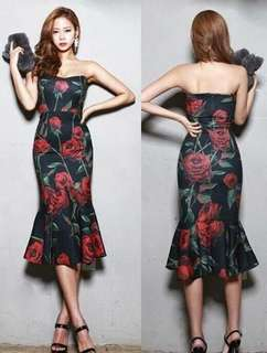 Black Tube Floral Elegant Dress