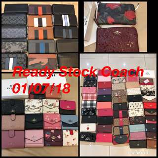 Ready Stock Original Coach Micheal Kors Kate Spade Tory Burch women wallet clutch wristlets coin bag handbag bag Shoulder bag