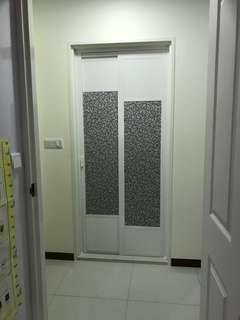 Slide swing door