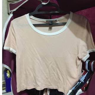 F21 peach ringer cropped top
