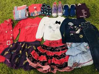 Lots of preloved branded girl outfits 4-6 years old - Pumpkin patch,Mark Spencer,Esprit,BabyGap,Converse etc