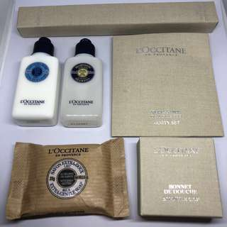 L'occitane Travel Set - Shampoo, lotion, soap, shower cap, vanity set, toothbrush