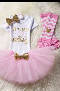 Half birthday tutu skirt set
