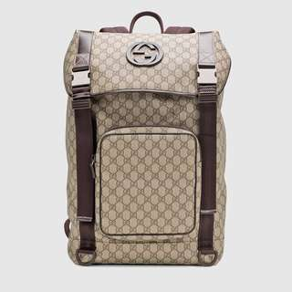 [USED/GENUINE] Gucci GG Supreme Canvas Interlocking G Backpack