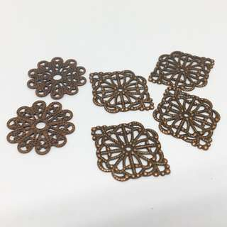 Antique Copper Ox Floral Lace Flower Filigrees Mix Set 6pcs  Jewellery Jewelry Findings Craft Supplies Accessories