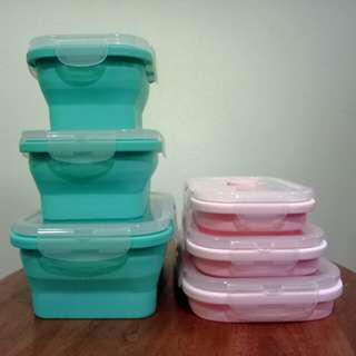 Food grade silicon collapsible foldable container/lunchbox