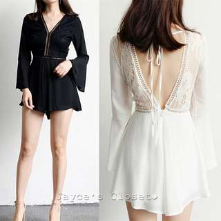 [5 colours] Bell Sleeve Lace Cut-Out Back Romper