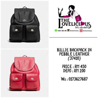 BILLIE BACKPACK IN PEBBLE LEATHER COACH F37410