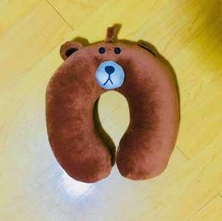 Line Brown Bear Travel Neck Pillow