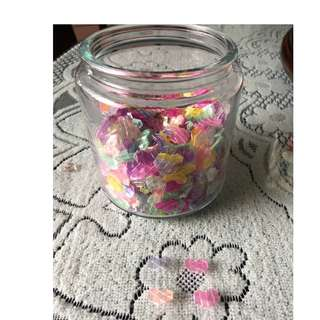 Mini Straw Hearts w Glass Jar