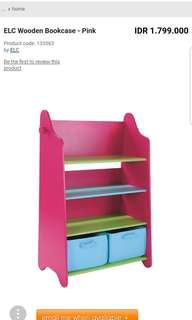 ELC Wooden Bookcase - Pink ex display