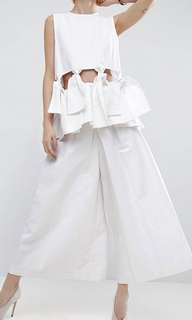🚚 ASOS WHITE Twill Leg Culottes with Pleats