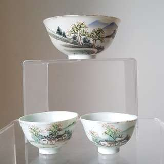 Antique Small Porcelain Bowl + 2 Wine Cups