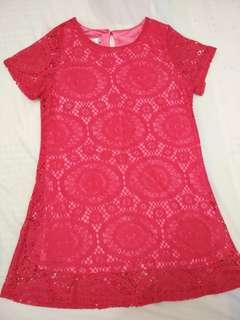 Rose Red lace mini dress