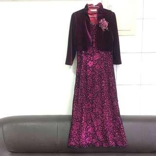 🚚 媽媽裝/婆婆裝-婚禮專用禮服(紫色長禮服)