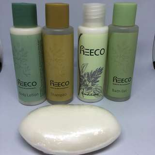 Reeco Travel Size Toiletries - Bath gel, soap, shampoo, conditioner and lotion