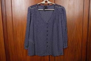 [MANGO] Printed Long Sleeve Blouse