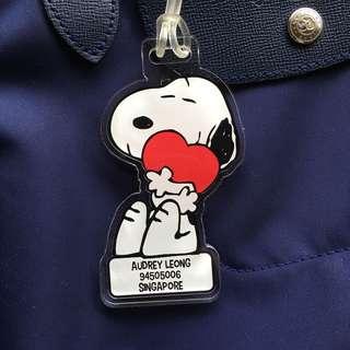 Custom Personalised Bag Tag - Snoopy Heart