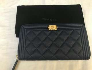 Bnew Chanel Le boy zip wallet