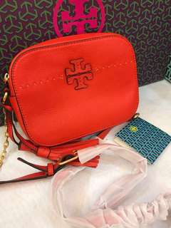 Ready Stock Original Tory Burch poppy red sling bag