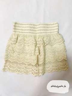 Cream Lace Skort