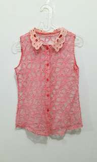 Top Transparant pink / tanktop / blouse