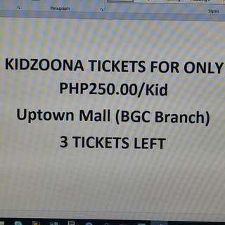 KIDZOONA TICKET (UPTOWN MALL BGC BRANCH)