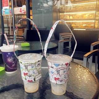 🍶貓咪款環保飲料杯套 環保手提袋 兩色可選 奶茶套 手搖飲料杯套 飲料提袋 手提袋