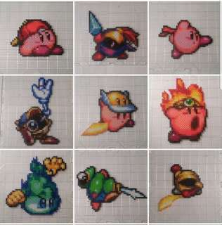 Hama beads Kirby super star ultra Copy Kirby Mirror Kirby Mike Kirby No.3 Mike Kirby No.2 Mike Kirby No.1 Plasma Kirby Yo-yo Kirby Wheel Kirby Bio Spark Fighter Kirby Gim Cutter Kirby Fire Kirby Plasma Wisp Blade Knight Sir Kibble Knuckle Joe Bomb Kirby