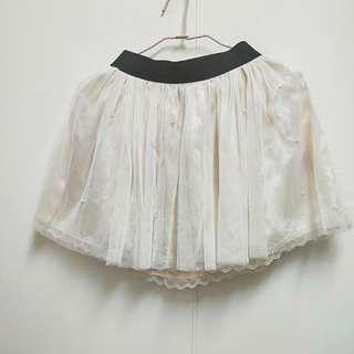 珍珠雪紡紗裙短裙 珍珠粉