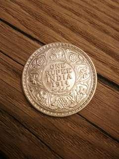 1914 silver rupee coin